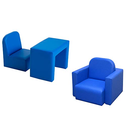 HOMCOM Kids Mini Sofa 2 In 1 Table Chair Set Armchair Seat Game Relax Playroom Seater Children Girl Boys Blue