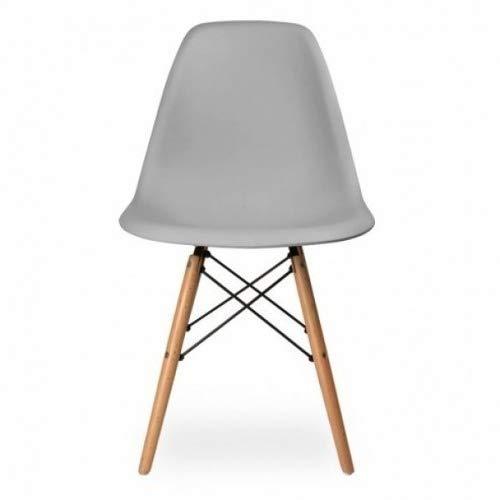 Cadeira De Jantar Charles Eiffel Eames Dsw Base Madeira Wood - Marca Inovartte - Cor Cinza