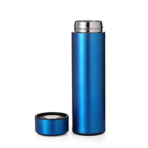 Botella termo ecológico con pantalla de temperatura LED táctil de acero inoxidable de 0,5 L inteligente reutilizable que conserva el frío y el calor, café o té frío (azul)