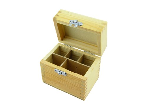 Wood Box Storing Gold Test Kit 5 Compartments; 3 Testing Acid Bottles 2 Stones