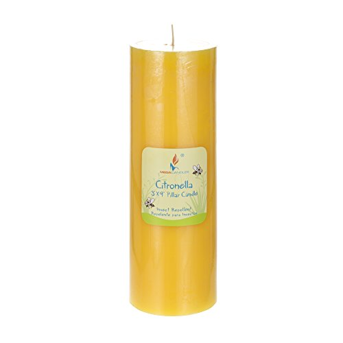 Mega Candles 1 pcs Citronella Round Pillar Candle, Hand Poured Paraffin Wax Candles 3 Inch x 9 Inch, Bug Repellent Candles for Indoor & Outdoor Use, Everyday Candles for Mosquitoes & Insects