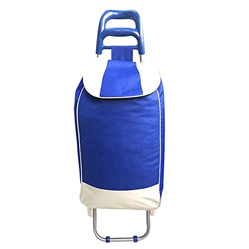 Carrito de la compra plegable, resistente con ruedas, carro portátil, carrito de comestibles, herramientas de equipaje, reutilizable (color: azul)