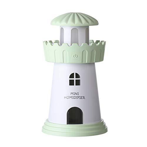 Mini portátil humidificador Home Travel Cool Mist Humidifier USB recargable humidificador de aire faro noche luz humidificador para oficina dormitorio Hotel,Green