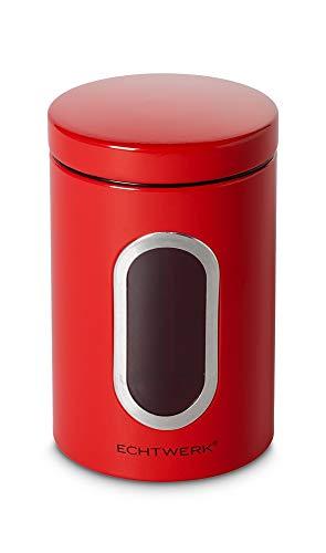 Echtwerk stilvolle Vorratsdosen 3er Set-Rot, zur Aufbewahrung von Mehl/Zucker/Müsli/Tee, Metalldose mit Luftdichtem Deckel und großem Sichtfenster, Fassungsvermögen 1, 4L, Iron