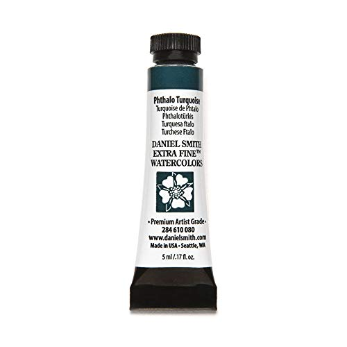 DANIEL SMITH, Phthalo Turquoise 284610080 Extra Fine Watercolors Tube, 5ml