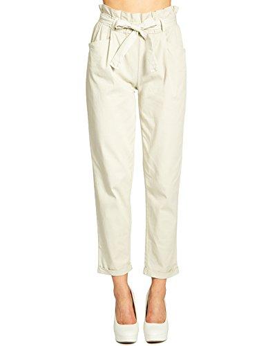 Caspar KHS048 Donna Pantaloni a Sacchetto/Paper Bag Trousers di Cotone, Colore:Beige, Dimensioni:XL - DE42 UK14 IT46 US12