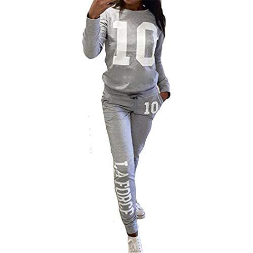 Fliegend Damen Traininganzug Jogginganzug Druck Sportanzug Langarm Sweatshirt Casual Sporthose Zweiteiler Laufenanzug Freizeitanzug 3XL