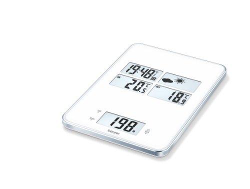Beurer KS 80 Küchenwaage (5 in 1 Waage mit integrierter Wetterstation, Uhrzeit, Weckfunktion und Timer)