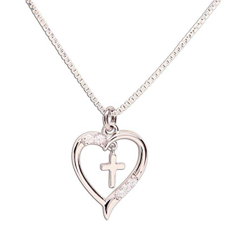 Girl's Sterling Silver First Communion'Dancing Cross' Heart Necklace, 14'