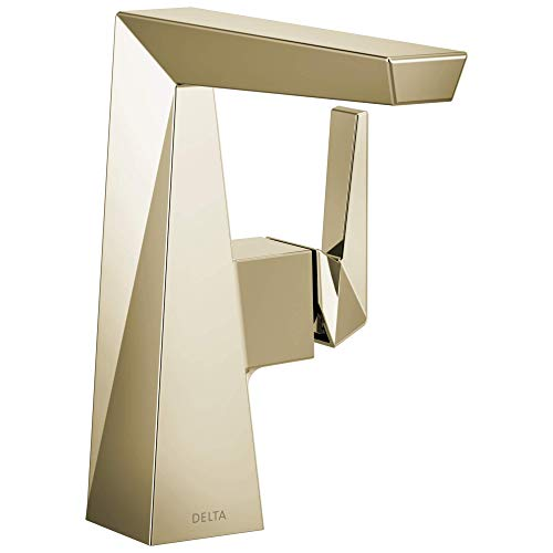 Delta Faucet 643-PN-DST Trillian Handle Mid-Height Bathroom Faucet Single Hole, Polished Nickel