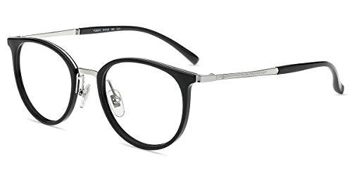 Firmoo Occhiali da Vista Uomo Donna, Occhiali Luce Blu Bloccanti per il Mal di Testa Antiriflesso, Occhiali da Riposo per Computer PC Monitor Rotondi(Nero)