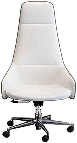Silla de Oficina Silla de Oficina Ergonomic High Back Home Reclining con reposapiés PU Cuero Ejecutivo Decorado Sillón (Color : White, Size : 52x50x110cm)