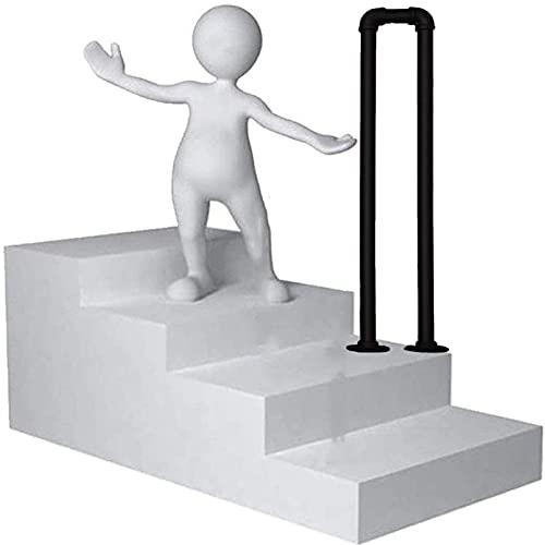Industrieller Handlauf U-förmiger Zaun - 1-stufige schmiedeeiserne Treppenhandläufe, mattschwarzer Stufenhandlauf, für den Innen- und Außenbereich - Bogentreppengeländer für den Verandagarten, 1 Pac