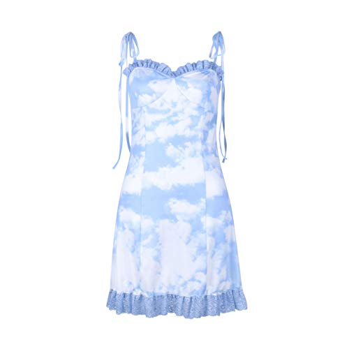 TR-yisheng Vestido De Mujer, Juguetón Estilo De Hong Kong Vestido De Mujer Azul Personalidad Encaje Sin Tirantes Sin Tirantes Diosa Tirante Estampado De Tirantes Vestido Delgado