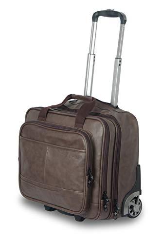Nasher Miles Wall Street 2 Wheel PU Brown Laptop Roller Case - DL937