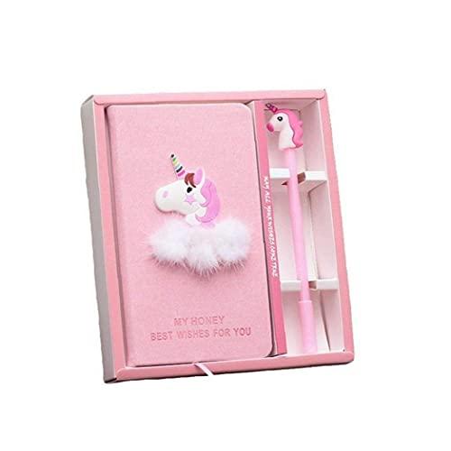 chengbaohuqu Rosa Unicornio Notebook Box Diario con Pluma Gel Papelería Suministros Escolares Regalo para Niños Estudiantes Estudiante Estudiante Oficina Regalo