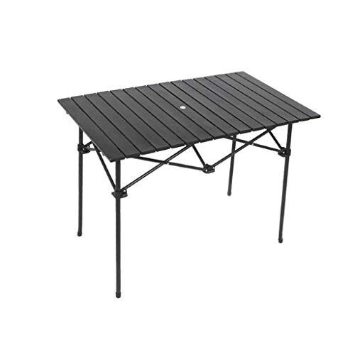 Jardín Mesa Plegable Plegable al Aire Libre Mesa con sombrilla portátil Agujero aleación de Aluminio Puesto Tabla Larga Mesa al Aire Libre Puesto Tabla Reunión, 95x68x69cm