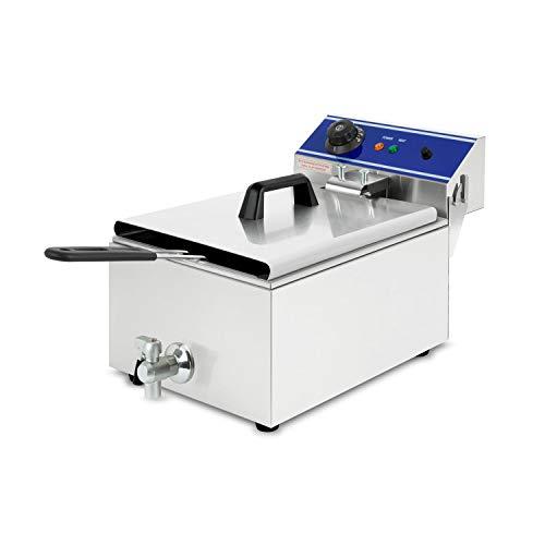 vertes Friteuse 10L (3000 Watt, température réglable jusqu'à 200°C, électrique 230V, capacité 5,5L d'huile, principe des zones froides, vanne de vidange, fonction reset, acier inoxydable)