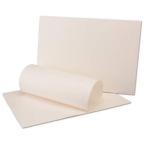 50 x DIN A4 Papier Bogen - Elefantenhaut Weiß - 21 x 29,7 cm - Retro Briefpapier - Altes Papier Vintage - MIT FASER EINSCHLÜSSEN - 125 Gramm/m²