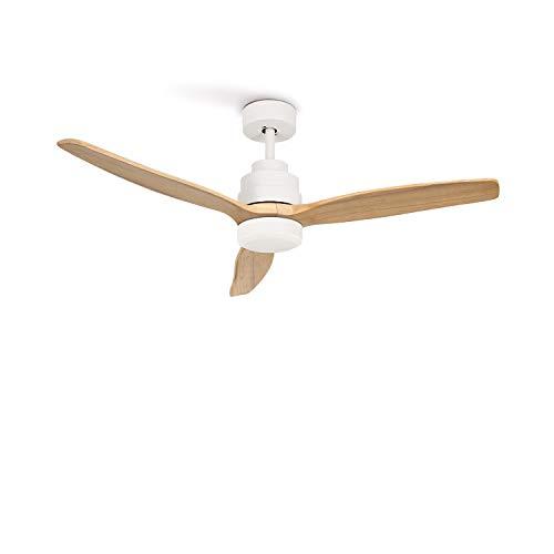 IKOHS WINDLIGHT White - Ventilador de Techo 40W DC Reverse con Luz (Sin luz - Madera Natural)