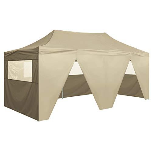 vidaXL Vouwtent met 4 Zijwanden Pop-Up 3x6 m Crèmewit Feesttent Feest Tent