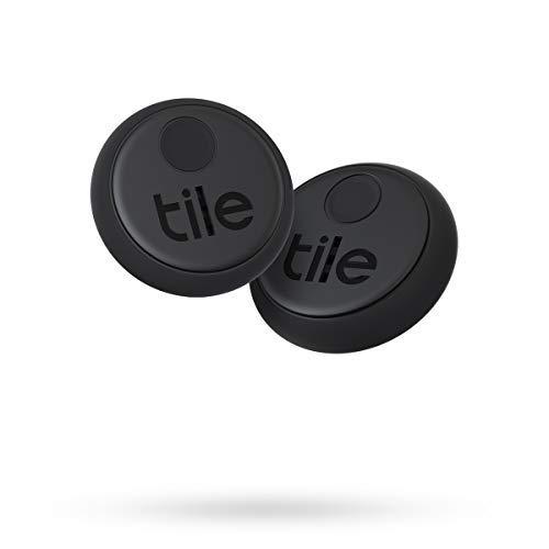 Tile Sticker (2020) Bluetooth Trova Oggetti, 2 Pezzi, Nero, Portata di Rilevamento di 45 m, batteria 3 anni, Compatibile con Alexa e Google Home, iOS e Android, Trova Chiavi, Telecomandi e Altro