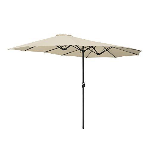 ReaseJoy 4.5x2.6m Double-sided Patio Umbrella Sunshade UV30+ Water Fade Resistant Crank Outdoor Garden Parasol Table