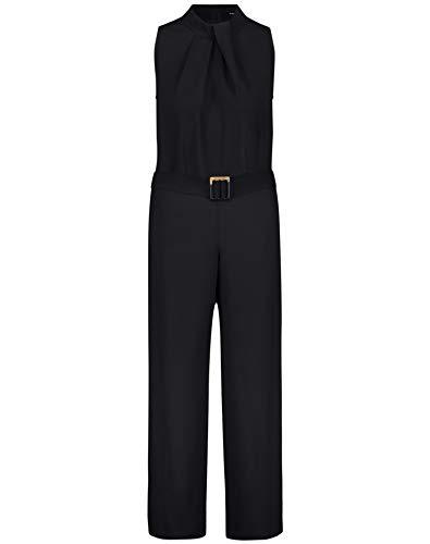 Taifun Damen Eleganter Jumpsuit mit Gürtel tailliert Black 38