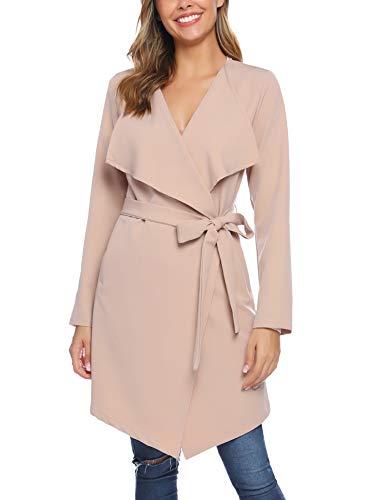 iClosam Damen Trenchcoat Mantel Mit Gürtel (Khaki, XL)