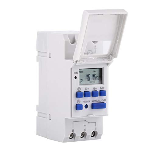 BiuZi Digitale tijdschakelklok 7 dagen programmeerbare digitale timer voor zware toepassingen, tijdschakelaar LCD-display 16o en 8o timer (AC / DC24V)