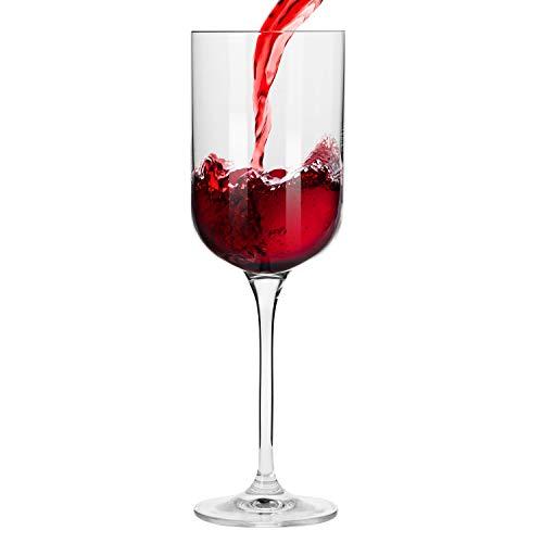 Krosno Pequeño Copas de Vino Tinto | Conjunto de 6 Piezas | 350 ML | Glamour Collection Uso en Casa, Restaurante y en Fiestas | para Microondas y Lavavajillas