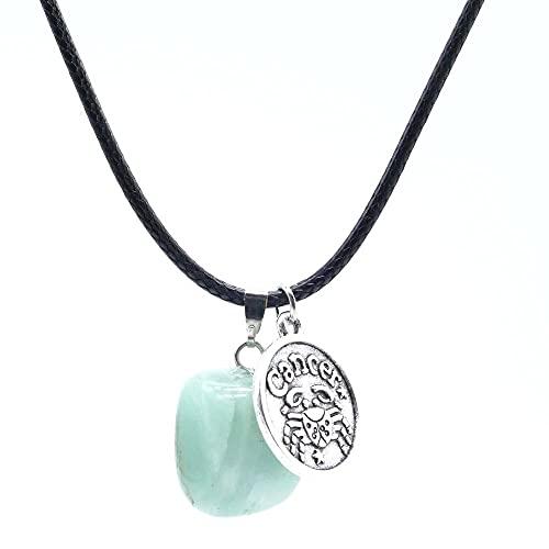 ARITZI - Collar de Cola de ratón de 45 cm con Piedra de Canto rodado de Aventurina y Dije de horóscopo de Cáncer