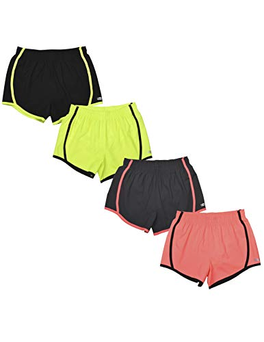 Hind 4PK Active Workout Athletic Shorts for Girls, Girls Basketball Shorts