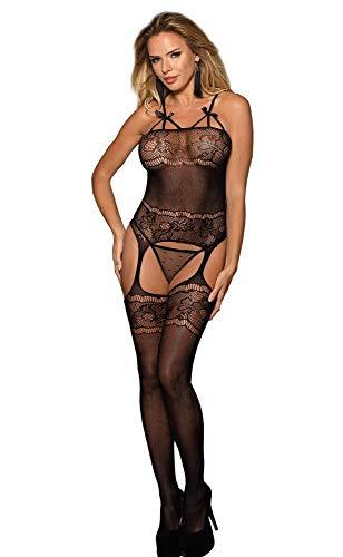 Catsuit Damen Einteiler Spitze Strapse Transparent Schleifchen Nylon Dessous S/XL Größe S/M