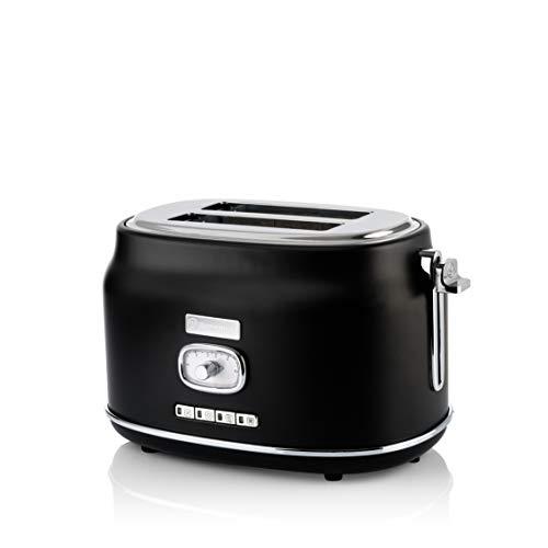 Westinghouse Retro Toaster 2 Scheiben klein - 2er Doppelschlitz Toaster mit Brötchenaufsatz, Krümelschale & weiteren...