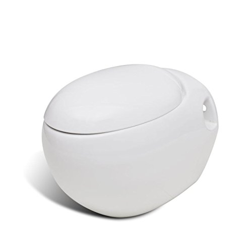 Tidyard Ei-Design Wand-HÄNGE WC/Toilette Soft Close WEIß Wandtoilette + hängendes Bidet Wandbidet Inklusive SoftClose-Toilettensitz