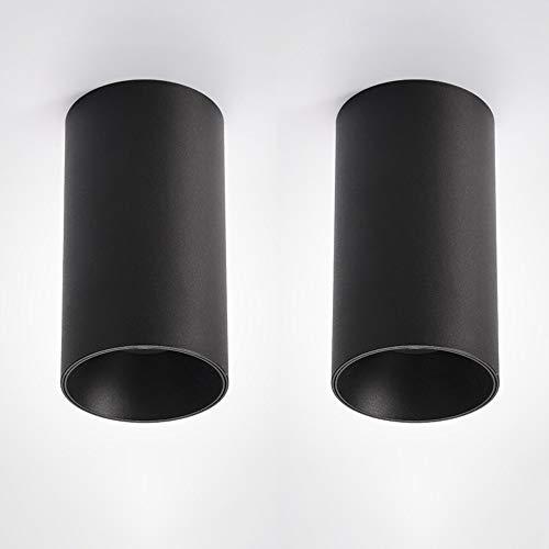 Paquete de 2 COB Montado en Superficie de techo Downlight LED Focos de cilindros de aluminio antideslumbrante Negro cubierta decorativa de la lámpara for el dormitorio Pasillo Cocina