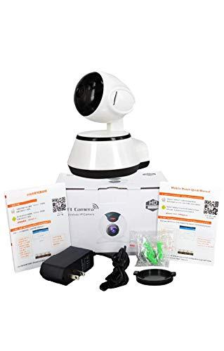 SODIAL V380 Phone APP HD 720P Mini Camara IP Camara Wifi Camara de seguridad P2P inalambrica Vision nocturna Robot IR Soporte para monitor de bebe (Tarjeta SD no incluida) (Color: Blanco)