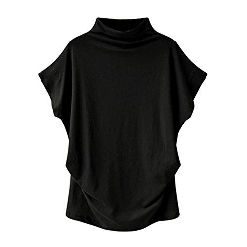 Frauen Rollkragenhemden Loose Bottoming Shirt Casual Bluse Damen Sommer Kurzarm Tops Solid Color
