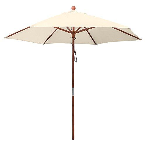 anndora® Sonnenschirm Marktschirm Balkonschirm ø 2,5 m rund wasserabweisend - mit Winddach Natural