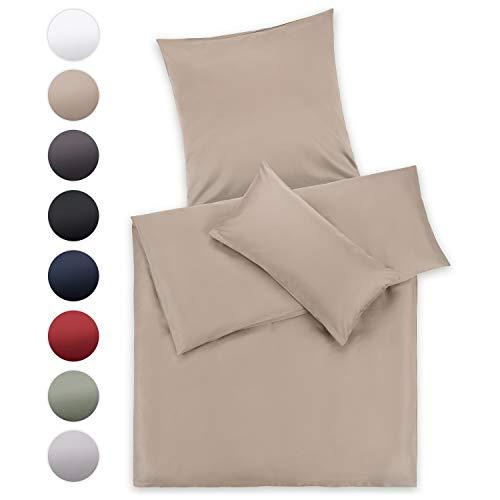 Blumtal Mako Satin Bettwäsche 135 x 200 cm mit Kissenbezug 80x80 cm - 100% Baumwolle, Superweiches Bettbezug Set, Taupe