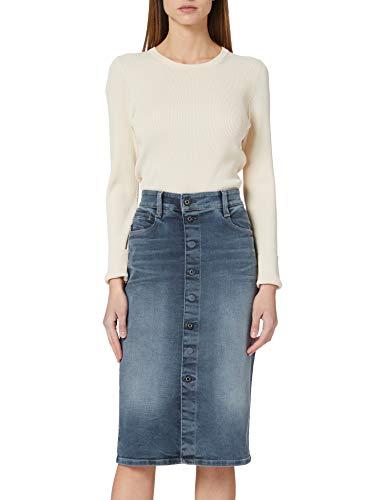 G-STAR RAW Womens Noxer Navy Pencil Button Skirt, Worn in Smokey Night B604-C268, 33W
