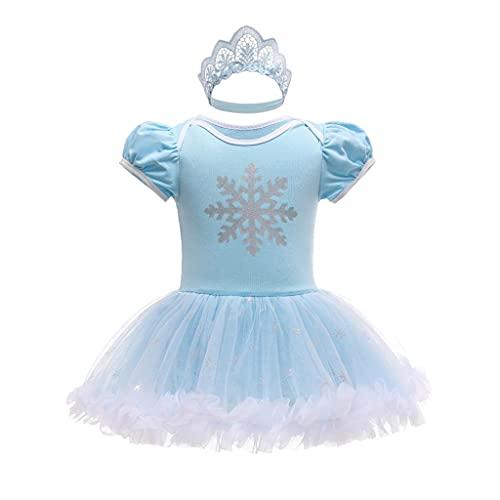 Lito Angels Disfraz de Princesa Elsa para Bebé Niñas, Body Mamelucos Onesie Vestido de Fiesta Cumpleaños con Diadema Talla 6-9 Meses, Azul