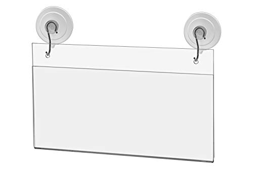 Marketing Holders Window Mount Ad Frame Sign Holder 8.75 x 4 Inch with 2 Suction Cups with Hooks for Business License Hair Salon Store Restaurant School Clear Acrylic