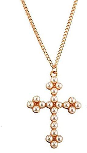 Collar Mujer Collar Hombre Collar elegante Collar con colgante de cruz de perlas simuladas Cadena de clavícula de oro Regalos finos para mujeres Collar con colgante de joyería Collar para niñas Niños