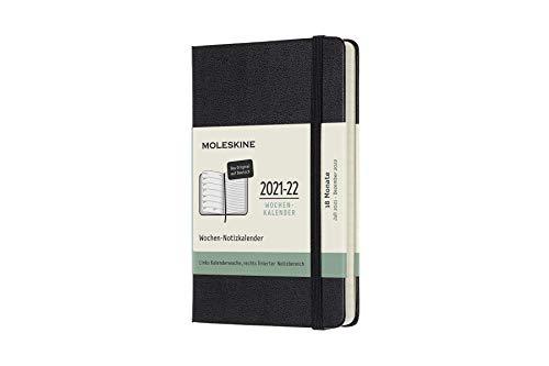 Moleskine 18 Monate Wochen Notizkalender Deutsch 2021/2022, Pocket/A6, 1 Wo = 1 Seite, rechts linierte Seite, Gebunden, Schwarz