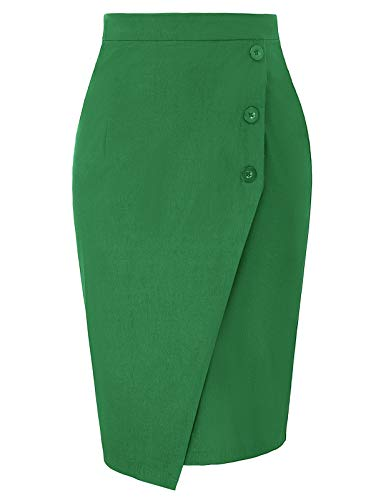 Women's High Waist Business Work Skirts Midi Bodycon Pencil Skirt Green S