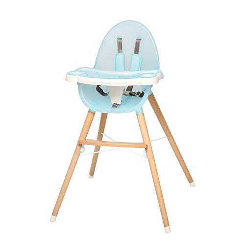 WINNPRIME Baby High Chair, Suitable for Infants/Toddlers, Baby Wooden Dining Chair with Removable Tray and Adjustable Legs, Easy Assembly (Light Blue)