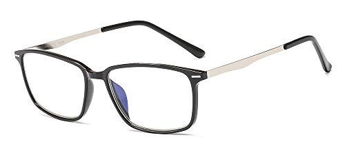 Suertree Blaulichtfilter Lesebrille Metall Sehhilfe Computerbrille PC UV Blaues Blockiert Brillen Damen Herren BM481 0.0X