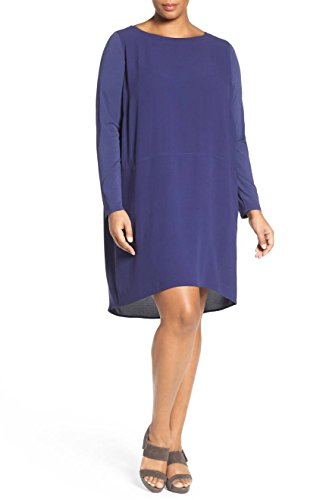 Eileen Fisher Womens Plus Georgette Crepe Shift Casual Dress Purple 1X